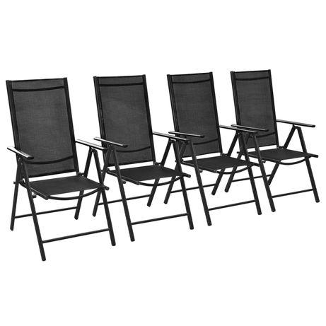vidaXL Cadeiras de jardim dobráveis 4 pcs alumínio e textilene preto 41731