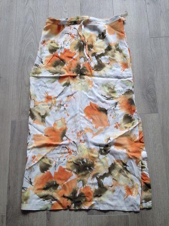Spódnica biała ecry pomarańcz khaki 40 kwiaty Zara