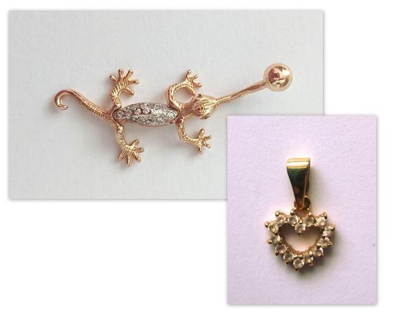 komplet ze złota kolczyk piercing + zawieszka serce próba 585