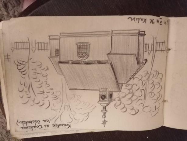 szkicownik rysunki ,szkice z 1949 r Kalisza