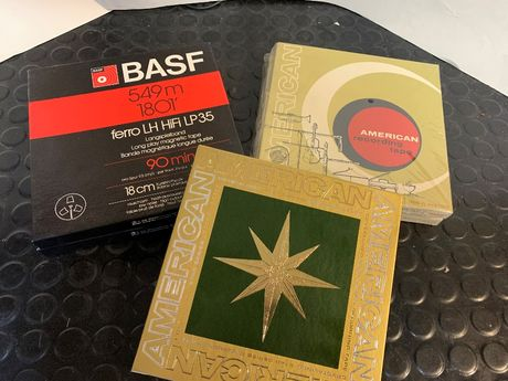 "Fitas Magneticas Bobine BASF,American Tape 7"" ,18cm 90MIN."