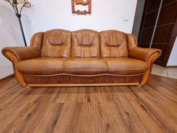 Okazja Sofa rozkładana z naturalnej skóry