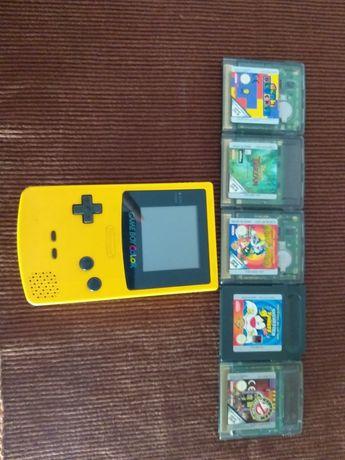 Gameboy Color Amarelo e 5 jogos