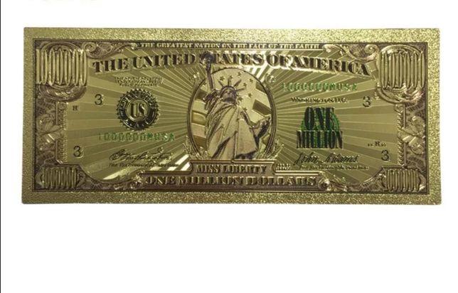 Zloty Banknot Milion Dolarów. Pomyśl na oryginalny prezent. Hit!