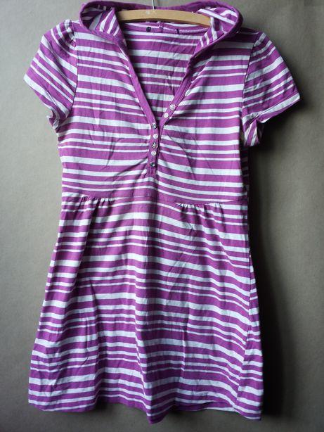 Bluzka/tunika z kapturem krótki rękaw paski biel-fiolet rozm L