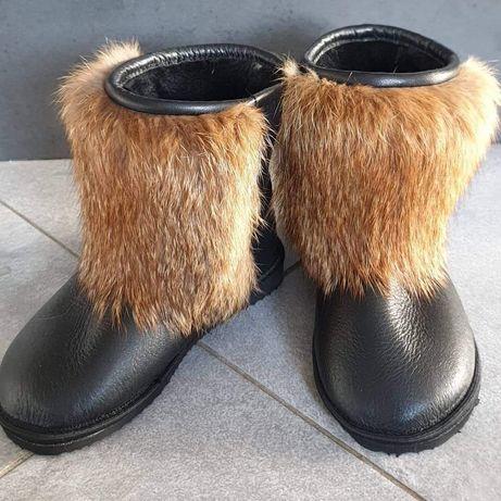 Eleganckie buty śniegowce naturalna skóra lis