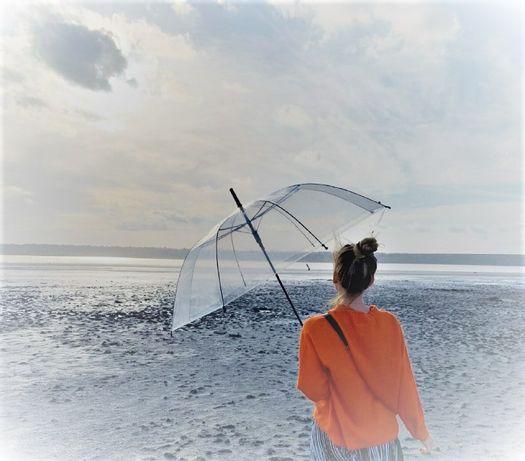 Прозрачный зонт-трость, полуавтомат с черной ручкой Качество Люкс