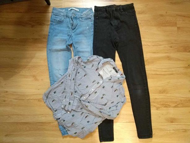 Bershka rozm 36 S zestaw jeansy 2 x oraz bluzka koszulowa Stan bdb