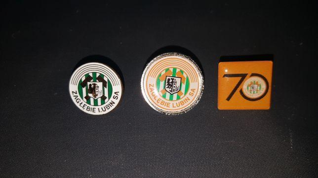 Komplet 3 odznak Zagłębia Lubin