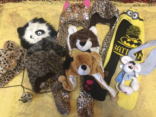 Зверошапка.Кошка, леопард, собака, медведь, панда. Бэтмен. Щенячий пат