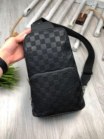 Мужская плечевая сумка слинг бананка на плечо LV Louis Vuitton c556