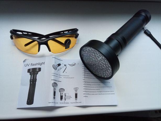 Latarka UV 100 LED + okulary, do klimatyzacji, bursztynow itd