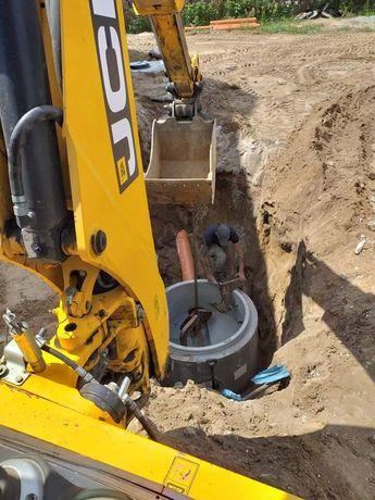 Przyłacza wod-kan gaz Usługi koparko ładowarką  koparka
