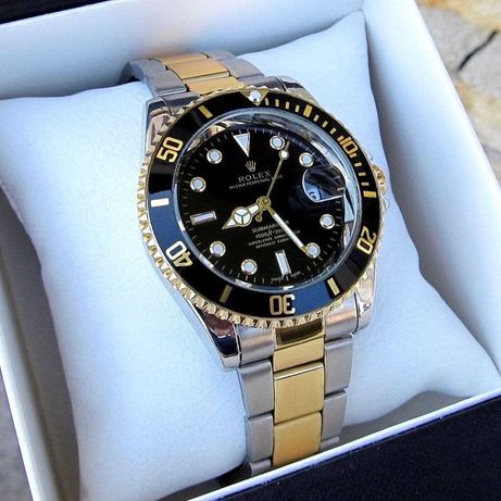 Мужские часы Rolex Submariner Silver-Gold-Black | Чоловічий Ролекс