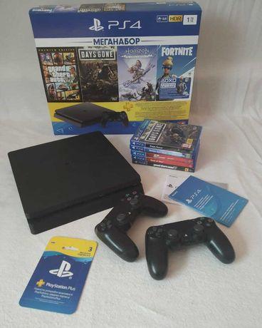 Playstation 4 Slim 1 Tb (2 геймпада). С Играми
