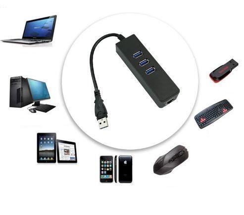 Adaptador Rede Ethernet RJ45 Gigabit + Hub 3 Portas USB 3.0 Alta veloc