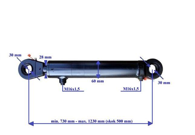 Siłownik hydrauliczny dwustronnego działania wysuw 500 mm