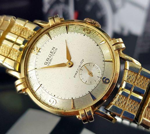 Złoty zegarek męski Gruen (Rolex partner) unikat lata 50te Vintage