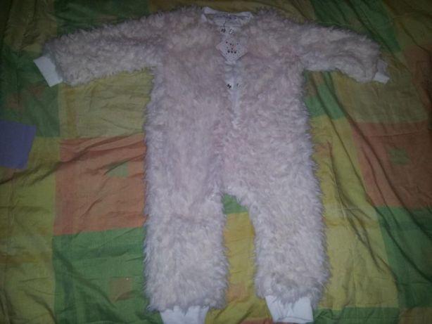 Новый комбинезон флисовый, слип флис меховой, пижама 70см, на 9-18 мес