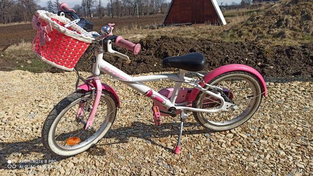 Rower btwin 16 cali różowy dla dziewczynki z Decathlon + kask