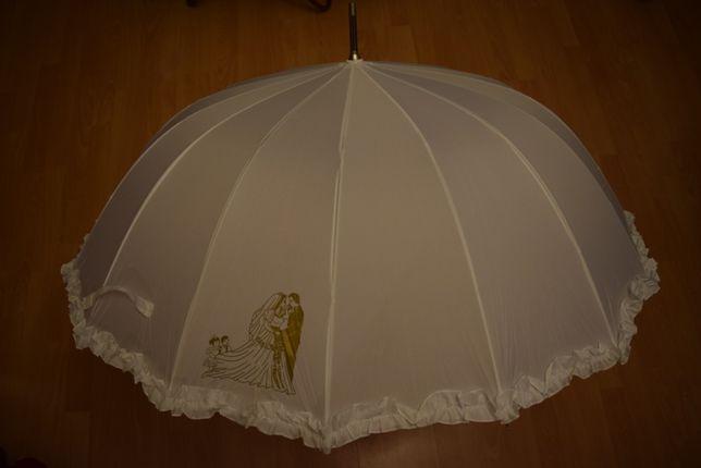 Duży biały parasol na ślub lub sesję ślubną - nowy i nieużywany