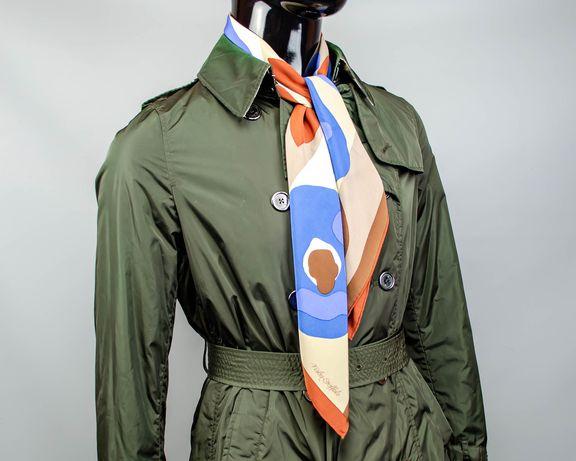 Фирменный шелковый платок Fisba Stoffels.Платочек с цветами.Шов Роуль