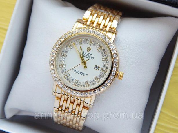 Часы Женские наручные Rolex (Ролекс) золотого цвета, стразы,