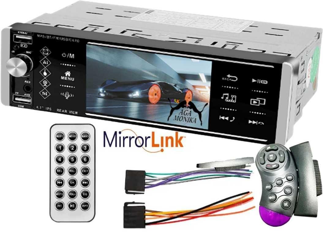 Radio Samochodowe 4,1 Mirror Link Bluetooth  AUX USB + 2Piloty+ Kostki