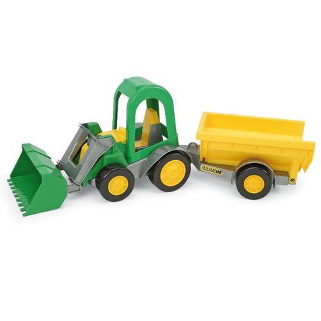Wader traktor z łyżką i przyczepą na konia