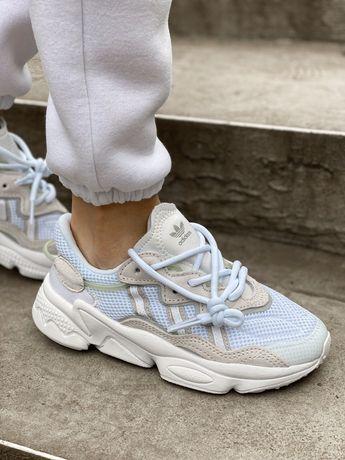 Белые летние кроссовки сетка Adidas Ozweego white Озвиго 37 38 39 42