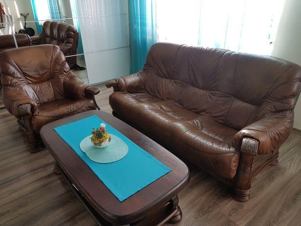 kanapa, fotel, styl holenderski, meble skórzane