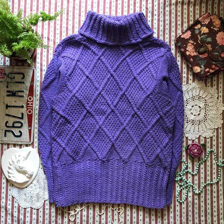 Теплый плотный свитер под горло ручная работа