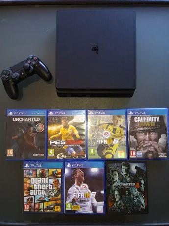 Consola PS4 slim + Comando + 7 jogos