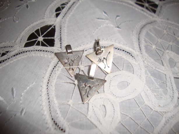 Комплект серьги кулон серебро котики.