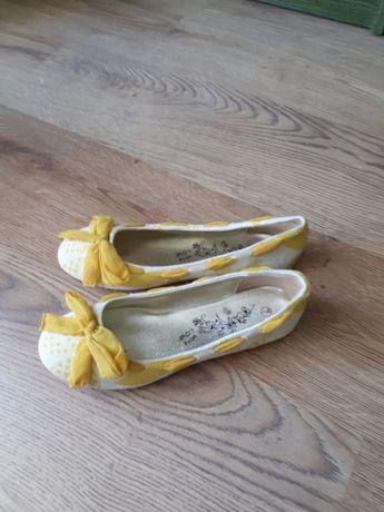 Balerinki biało żółte
