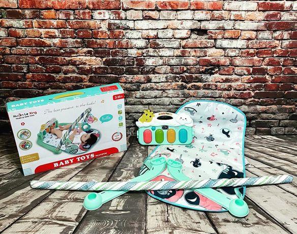 Детский развивающий коврик на батарейках с подсветкой и музыкой