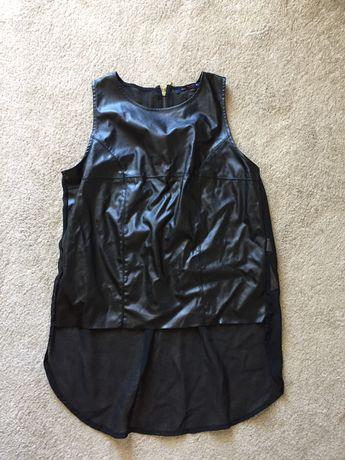 Top preto BERSHKA tecido combinado