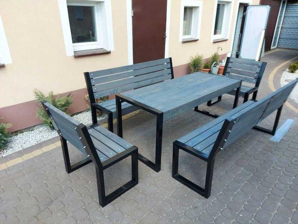 Meble ogrodowe LOFT stół 4 ławki drewniane industrialne 10-12 osób NEW