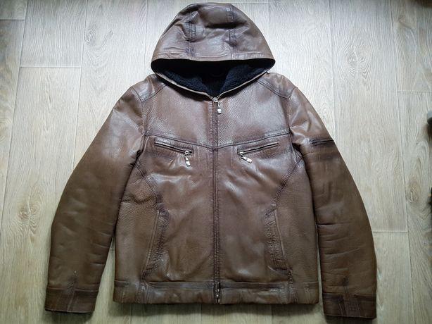 Дубленка мужская ИДЕАЛЬНАЯ матовая кожа XL,52-54 зимняя кожаная куртка