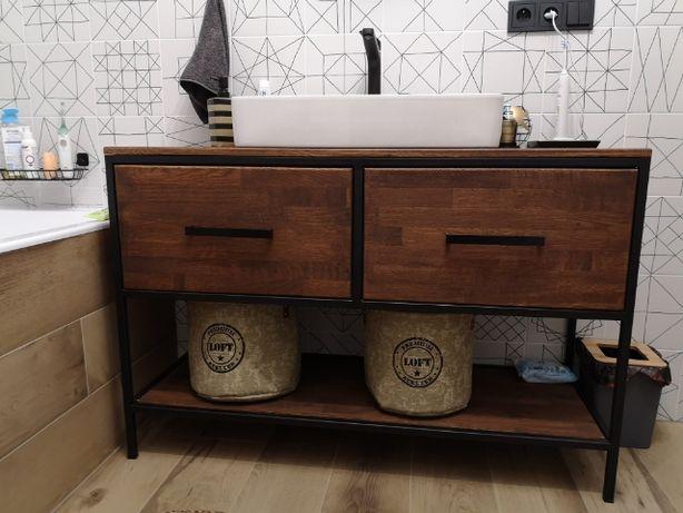 Komoda, szafka, konsola, dębowa pod umywalke LOFT RUSTYKALNY