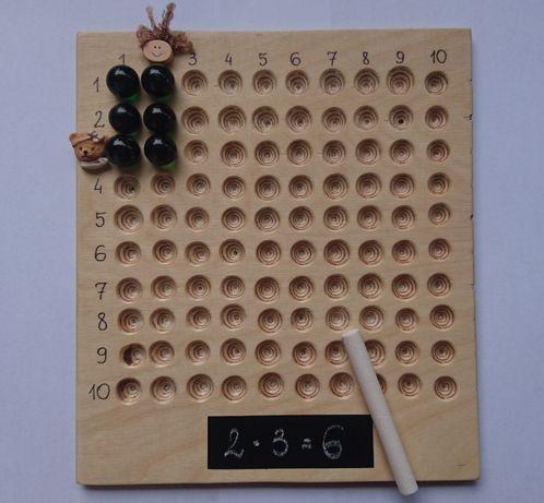Tabliczka do nauki mnożenia, dzielenia. Kulki, pionki, kreda.