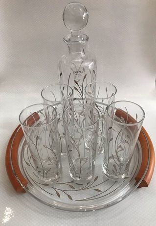 Набор стаканов,графина и подноса итальянского бренда Egizia
