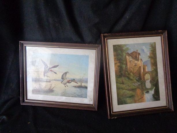 2 quadros pintados a mao assinados 27x33cm -djvcjdsvcdjsvj