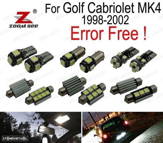 KIT COMPLETO DE 9 LÂMPADAS LED INTERIOR PARA VOLKSWAGEN VW GOLF CABRIO CABRIOLET MK4 (1998-2002)