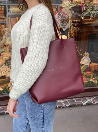 Женская кожаная сумка шопен на плечо плечевая Polina & Eiterou Fashion