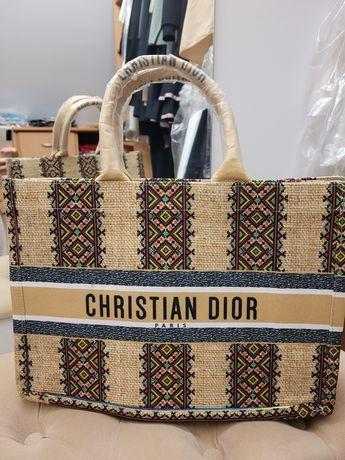 Torba shopper Dior wzór Etna beż płótno do miasta i na plażę