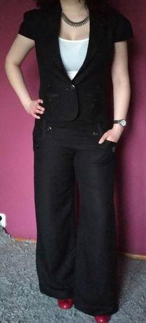Czarny komplet lniany biurowy do pracy żakiet spodnie Et Vous len