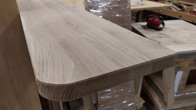 Parapet drewniany, parapety, półki,blaty dębowe jesionowe.