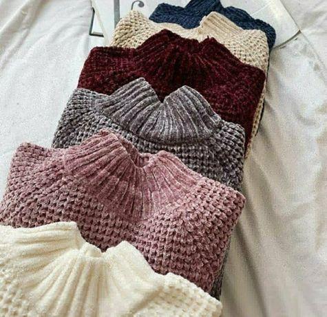 Плюшевые  вязаный велюровые свитер джемпер