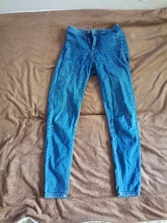 Jeansy spodnie wysoki stan bershka elastyczne niebieskie xs